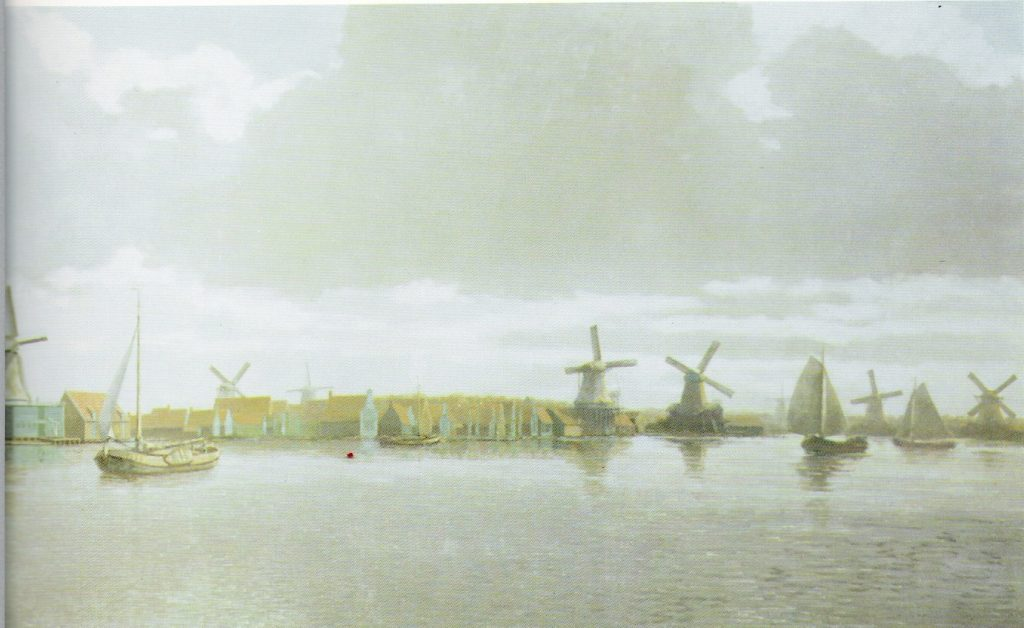 Tekening Frans Mars,  met als tweede molen van links De Rat op zijn oorspronkelijke standplaats.